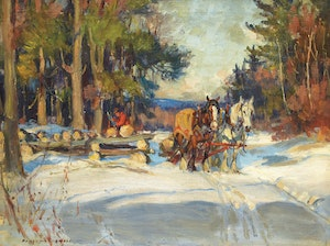 Artwork by Manly Edward MacDonald, Loading the Sleigh, Winter