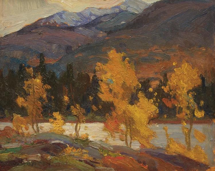 Artwork by John William Beatty,  Lake Edith, Jasper Park (1914)
