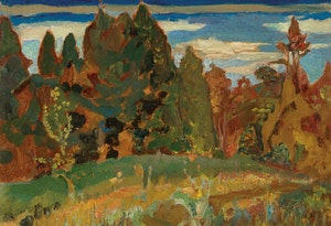 Artwork by Frederick Horsman Varley, Spring Meadow, Don Valley