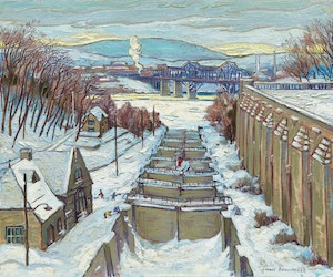 Artwork by Adolphus George Broomfield, Rideau Canal Locks, Ottawa