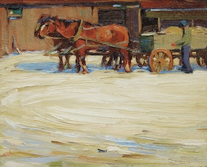 Artwork by Frederick Nicholas Loveroff, Horses Pulling a Wagon, Winter