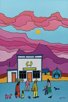 Artwork by Ted Harrison, Atlin Café
