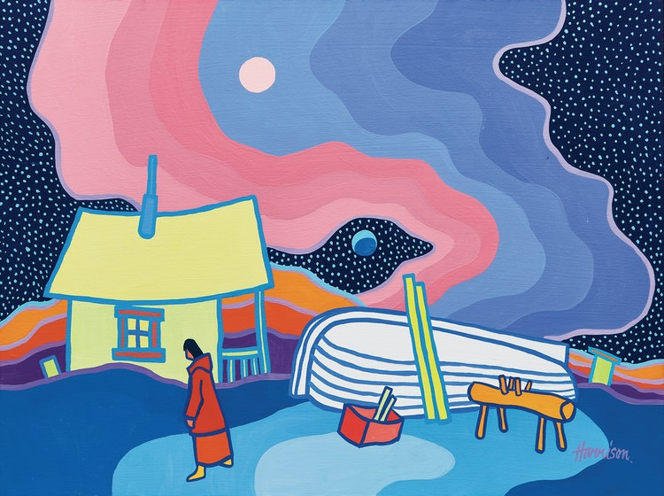 Artwork by Ted Harrison,  Evening Boat