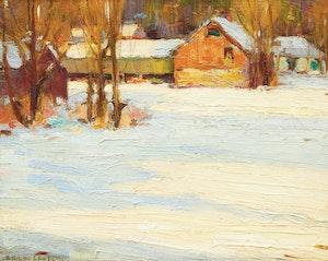 Artwork by Frederick Nicholas Loveroff, Farm Scene in Winter