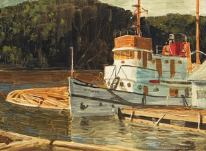 "Artwork by Alan Caswell Collier, Tug ""Nipigon"", Abitibi Marine Base"