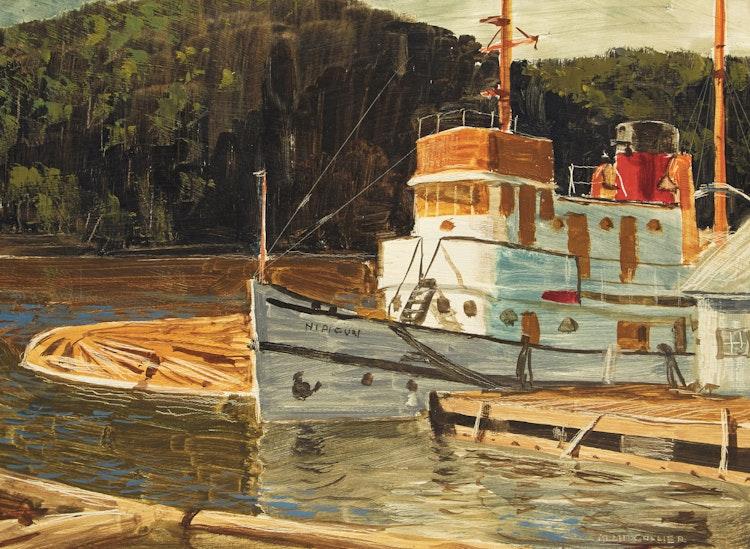 "Artwork by Alan Caswell Collier,  Tug ""Nipigon"", Abitibi Marine Base"