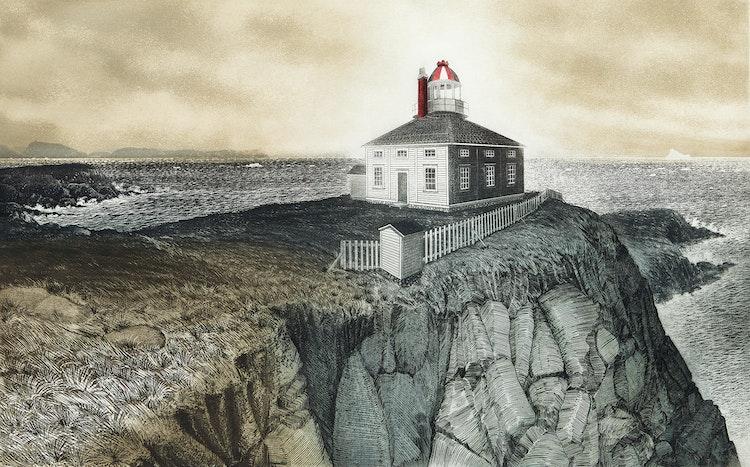 Artwork by David Lloyd Blackwood,  Cape Spear, Newfoundland