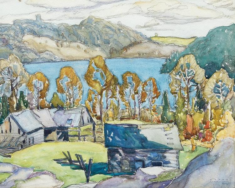 Artwork by Franklin Carmichael,  Old Barns, Miner's Bay