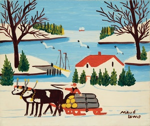 Artwork by Maud Lewis, Pair of Oxen with Sled of Logs