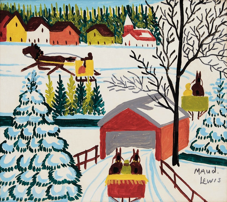 Artwork by Maud Lewis,  Snow-Covered Bridge