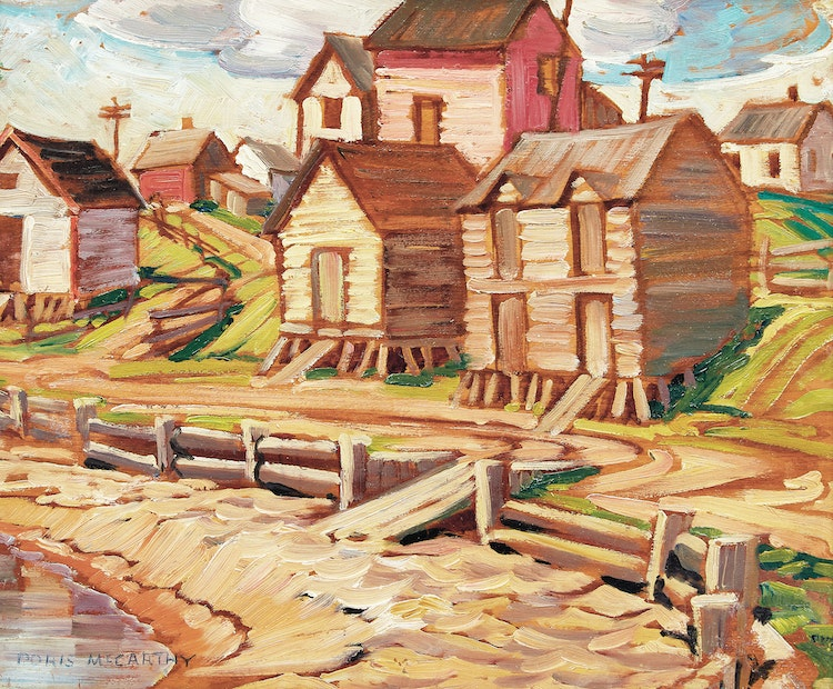 Artwork by Doris Jean McCarthy,  Fish Storage Sheds, Gaspé