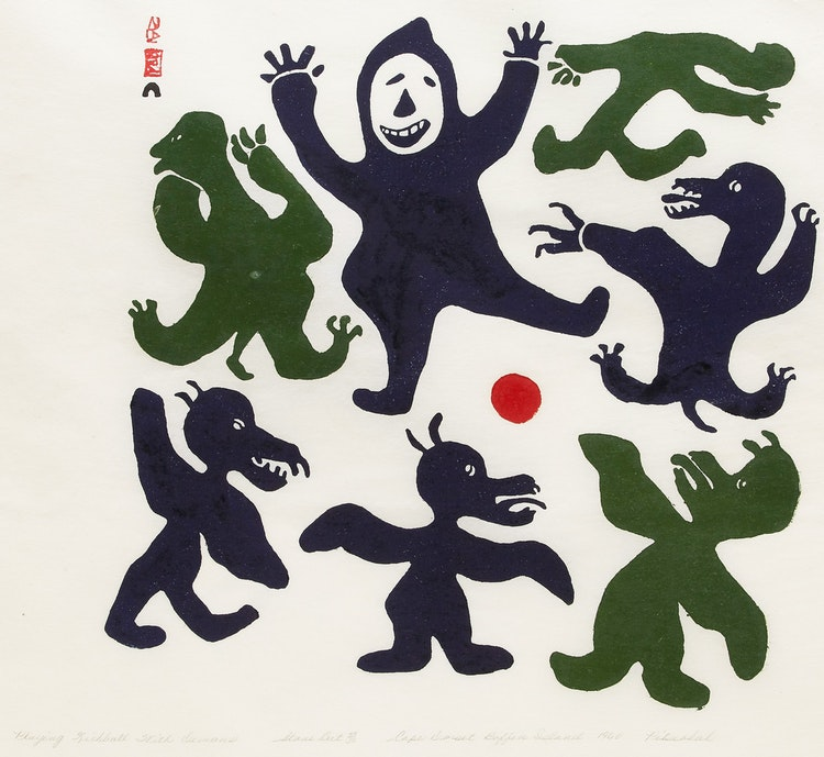 Artwork by Pitseolak Ashoona,  Playing Kickball with Demons