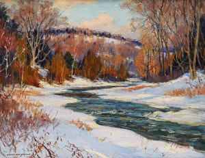 Artwork by Manly Edward MacDonald, Winter Breakup on the Don