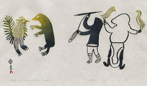Artwork by Lucy Qinnuayuak, Hunter and Woman Approaching Two Spirits