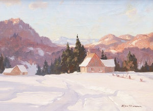 Artwork by Eric Riordon, Cottage in Winter