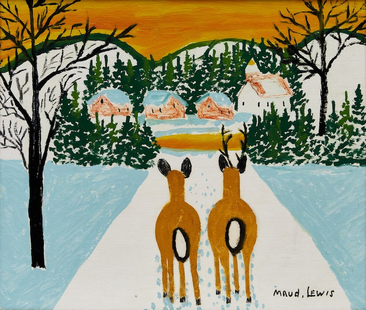Artwork by Maud Lewis,  Two Deer in a Winter Landscape