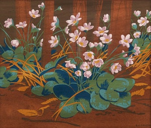 Artwork by Alfred Joseph Casson, Hepatica; Rugosa Rose