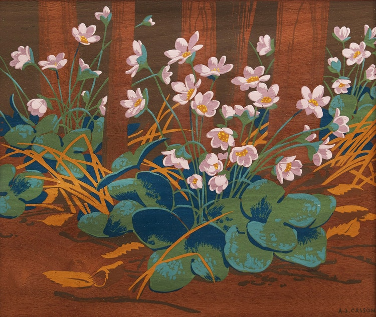 Artwork by Alfred Joseph Casson,  Hepatica; Rugosa Rose