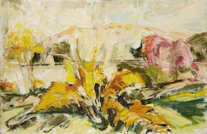 Artwork by Alexander Samuel Millar, Landscape in Yellow; Blue Crab in Pink Scene; Self Portrait