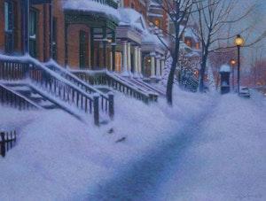 Artwork by Richard Savoie, Winter Sidewalk