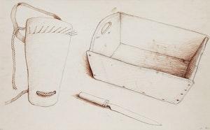 Artwork by William Kurelek, Calf Weaner, Dough Trough and Knife
