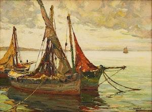 Artwork by André Beronneau, Barques à Contre Join; St. Tropez
