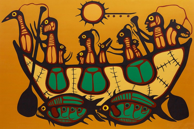 Artwork by Norval Morrisseau,  Migration/ The Great Flood