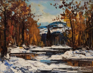 Artwork by Geza Gordon Marich, Winter Stream Landscape