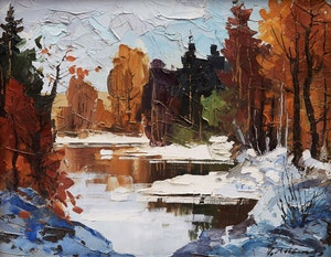 Artwork by Geza Gordon Marich, Stream in Winter