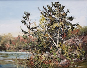 Artwork by Mary Lampman, Spring at the Lake
