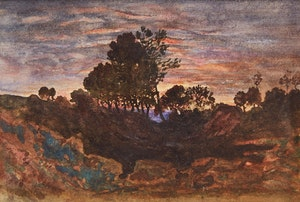 Artwork by Attributed to Henri Joseph Harpignies, Country Landscape at Dusk