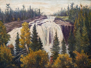 Artwork by Gordon Edward Pfeiffer, Falls on the Bestiamis River