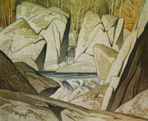 Artwork by Alfred Joseph Casson, Rock Cluster Madawaska River 1963; Sunlit Hill; Sunday Morning