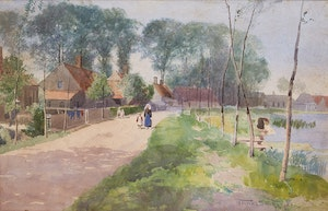Artwork by Frederic Marlett Bell-Smith, Dutch Village Scene