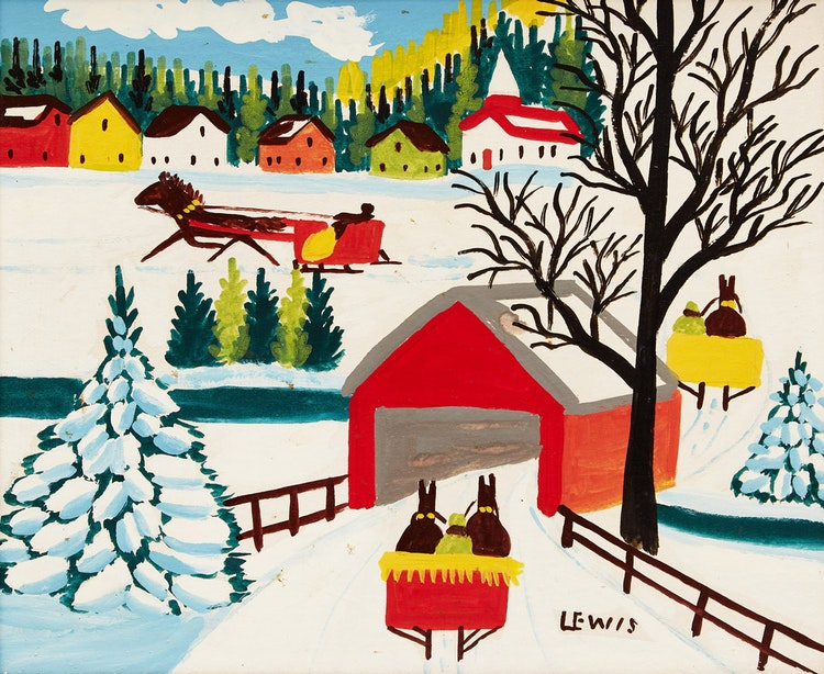 Artwork by Maud Lewis,  Winter Landscape with Covered Bridge