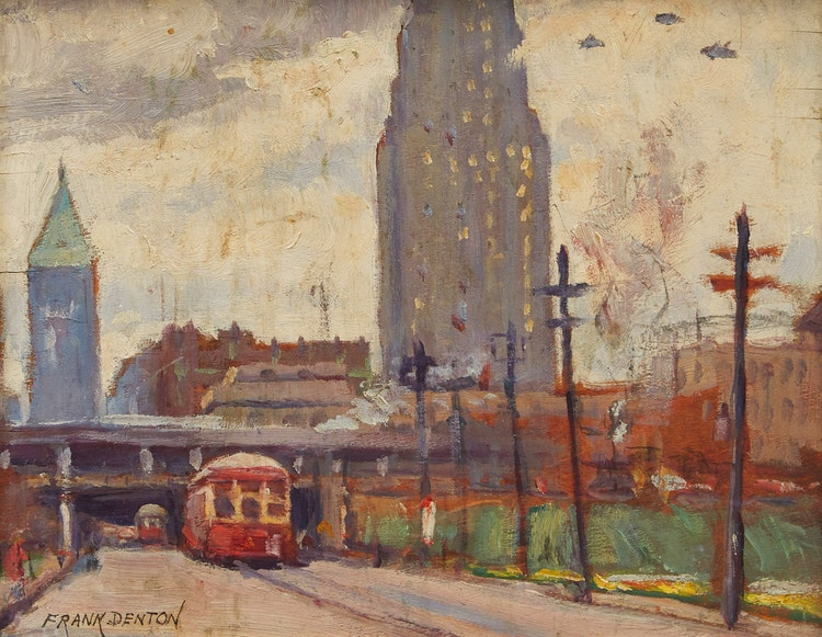 Artwork by Frank Denton,  View Looking North on York Street, Toronto
