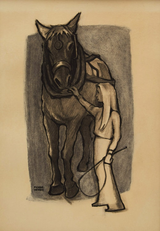 Artwork by Pierre Henry,  Girl Grooming Horse