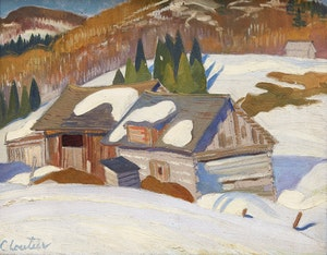 Artwork by Albert Edward Cloutier, Farm in Winter