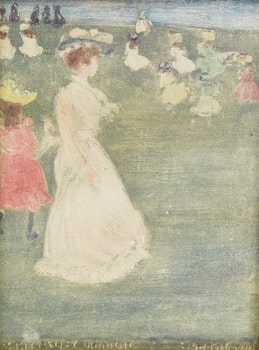 Artwork by Maurice Prendergast, The Breezy Boston Common; Young Women in Boston Public Gardens