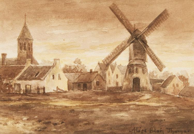 Artwork by Alice Blair Pollard Thomas,  Fishing Boat; Green Trees; Windmill
