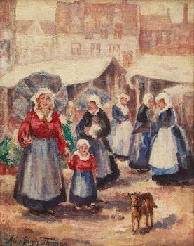 Artwork by Alice Blair Pollard Thomas, Lakeside Village; Market Day