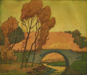Artwork by Frederick Stanley Haines, Crossing the Bridge