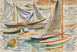 Artwork by Doris Jean McCarthy, Sailboats (Riding at St. Tropez)