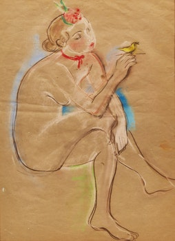 Artwork by Lillian Freiman, Drawing of Bambi Hellmuth (1937)