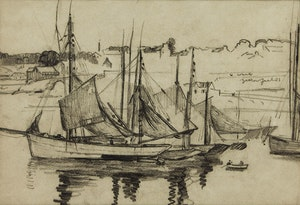 Artwork by Robert Wakeham Pilot, Harbour Scene with Sailboats