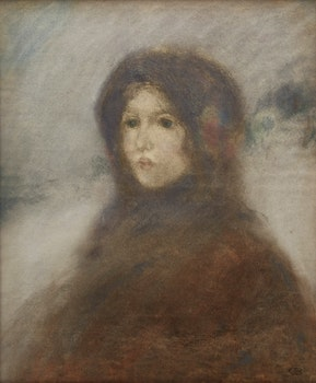 Artwork by Charles de Belle, Woman in the Snow