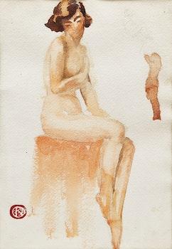 Artwork by Henri Hebert, Seated Nude