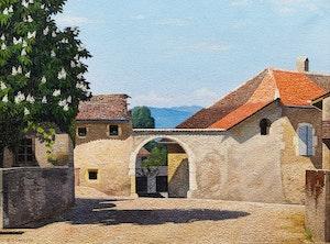 Artwork by Pierre Jaques, Place du Village d'Arlier