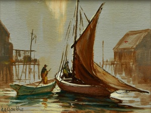 Artwork by William Edward de Garthe, Two Boats in the Harbour