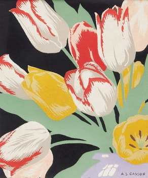 Artwork by Alfred Joseph Casson, Tulips; Wagon Road to House
